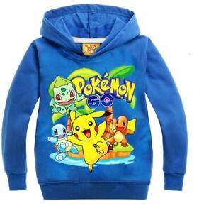 Pokémon Go Pikachu Boys Girls unisex Kids soft cotton tops hoodie size 3 -10 yrs