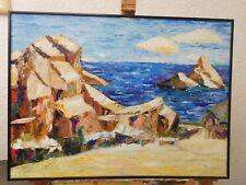 Fels in der Brandung Ölbild gespachtelt 62 x 84cm Gemälde Bild