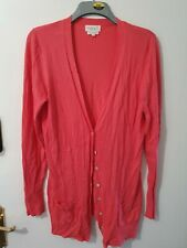 Next Long Sleeve Coral Pink Buttoned Cardigan Size 16