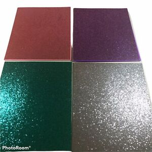 Lot Of 4 UStyle Bedazzled 2 Pocket Portfolio 1 Silver, 1 Green, 1 Pink, 1 Purple