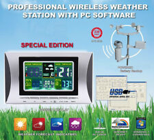 PRO WIRELESS DIGITAL LCD WEATHER STATION BAROMETER THERMOMETER RAIN GAUGE SENSOR