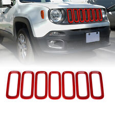 Xprite Front Grille Inserts Trim Covers (Red) for 2015-2017 Jeep Renegade