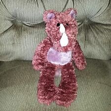 Russ Berrie PAXTON  Rhinoceros Mauve Pink Rose 14in Soft Shaggy Plush Animal