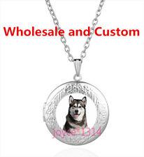 Siberian Husky Cabochon Tibetan silver Glass Locket Pendant Necklace #4341