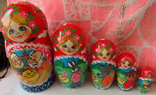 Superb quality fairy tale 'The Bun ' Russian Nesting Doll 5 Pcs Large 6.8* #5S
