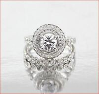 Certified 2.50ct Round Moissanite Diamond Engagement Wedding Ring 14k White Gold