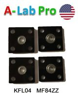 4 Pcs KFL04 4mm inner ID bore square Mounted Housing with MF84ZZ Flanged Bearing