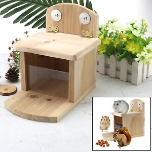 Hand Made Wooden Squirrel Feeder Station House with Hinged Lid Front Window