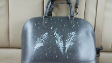 Gray Pulicati Hand Painted Floral Italian Leather  Large Crossbody Satchel Bag