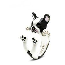Dog Fever Sterling Silver & Enamel French Bulldog Hug Ring