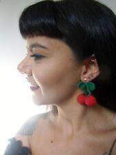 Boucles d'oreilles rétro vintage pinup 2 cerises paire crochet originales