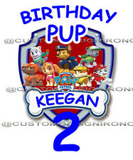 Paw Patrol # 4 - 8 x 10 - T Shirt Iron On Transfer - Birthday Pup - Customize