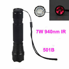 940nm Infrared Red Radiation IR LED Flashlight Torch Night Vision+18650+Charger