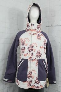 Burton Eastfall Snowboard Jacket, Womens Medium, Stout White Stylus / Purple New