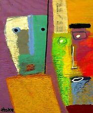 FACE RECOGNITION Hoke Outsider Painting Abstract Art Brut RAW FOLK Original