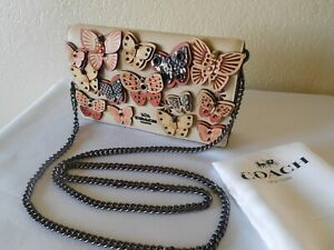 New COACH Callie Foldover Chain Clutch Crossbody Bag with Butterfly Applique