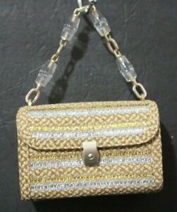 Eric Javits Luxury Women's Handbag St. Barths Peanut Silver Gold Woven Jeweled
