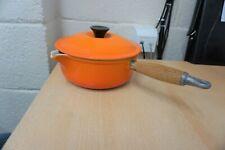 Used Le Creuset Saucepan Size 20 Volcanic Orange Cast Iron with Lid
