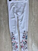 Johnny Was Bisous White Off Leggings Embroidery Flower Small S Bird Floral New
