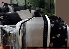 Paxton & Wiggin BALMORAL Faux Silk Black Silver QUEEN Size Quilt Doona Cover Set