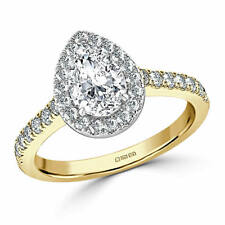 1.60 Ct Pear Cut Diamond Solitaire Engagement Ring 14K Real Yellow Gold Size O P