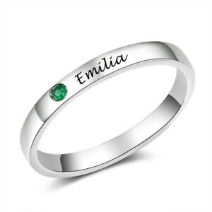 Fashion Women'S Silver Green Zircon Cz Lettering Emilia Ring Jewelry Size 8