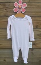 Nwt Ralph Lauren Infant Girls Pink Striped Footed Coverall Sleeper Size 6 Months