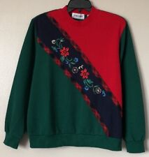 Alfred Dunner Poinsettia Embroidered Ugly Christmas Sweater Size Large NWT