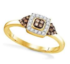 10K Yellow Gold Chocolate Brown & White Diamond Ring Square Cluster Ring .20ct
