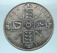 1918 United Kingdom Great Britain GEORGE V Silver Florin 2 Shillings Coin i77855