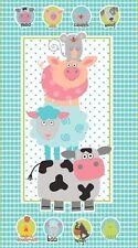 "24"" Fabric Panel - Studio E Funny Farm Pig Sheep Cow Nursery Baby Wallhanging"