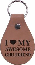 I Love My Awesome Girlfriend Leather Key Chain - Great Gift for Birthday