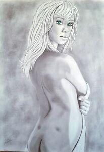 Aktzeichnung  #764 Akt,pin up,nude drawing, erotic,nu dessin, original Zeichnung