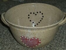 "Pottery Stoneware 10""W Colander Strainer Glazed Tan Speckled Brown Hearts EC"