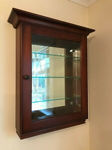 Cherry Wall Mounted Display Cabinet with Mirrored Back