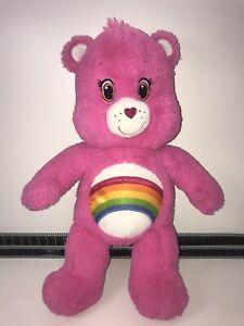 "Build A Bear Workshop Care Bear Cheer Bear 18"" Soft Plush Toy Pink Rainbow VGC"