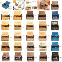 Vintage Wooden Music Box Antique Hand Crank Engraved Clockwork Music Box Xmas