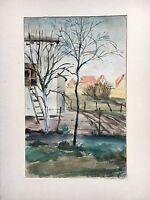 HANS BECK 1919 - BLICK AUF EINEN HINTERHOF MIT LEITER