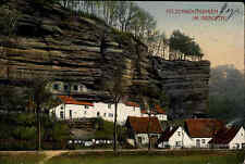 Feldpostkarte 1915 Felsen-Wohnungen Grauftal Stempel Straßburg n/ Börnichen gel.