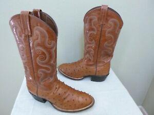 TONY LAMA 9.5 B Full Quill Ostrich Skin Exotic Cognac Western Cowboy Work Boots