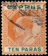 Cyprus Edward Vii 1904-10 Sg 61c Ten Para Broken Top Left Triangle Superb Used