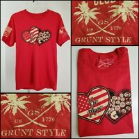 Grunt Style Men Short Sleeve Graphic T Shirt Size Large L Red