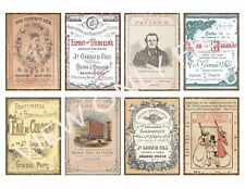 8 Vintage Antique Distressed Ads Atc Hang Tags Scrapbooking Paper Craft (336)