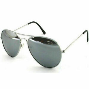 -- Aviation Silver Mirrored Pilot Aviater Sunglasses UV400 Mirror Mens Womens --