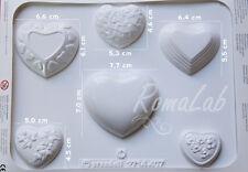 Stampo 3d 6 Cuori amore Knorr Prandell Formine Molds Matrimonio Gessi profumati