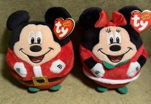 TY Beanie Ballz Christmas Santa Mickey & Minnie Mouse Lot of 2