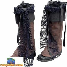 PIRATE DISTRESSED LOOK BOOT TOPS - mens ladies fancy dress costume accessory