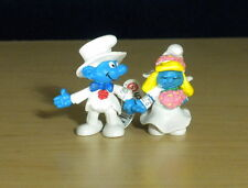 Smurfette Bride & Groom Smurf Figures Wedding Day Smurfs Vintage Toy Cake Topper