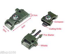 100X Side Buckle Whistle Compass Flint Fire Starter Scaper Paracord Bracelet H3
