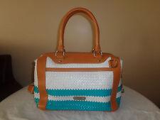 Rebecca Minkoff MAB Large Handbag White and Green Woven Satchel